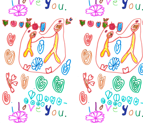 I love you fabric by viljatwins on Spoonflower - custom fabric