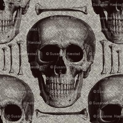 Burlap skulls&bones medium