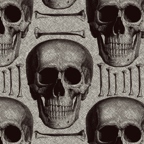 Burlap skulls&bones medium fabric by susiprint on Spoonflower - custom fabric