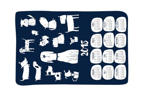 2018 tea towel calendar - dogs navy fabric by laurawrightstudio on Spoonflower - custom fabric