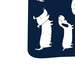2018 tea towel calendar - dogs navy