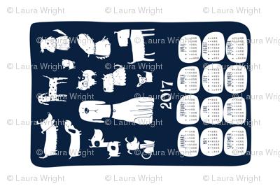 2017 Tea towel calendar - dogs navy