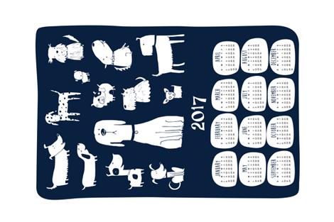 2017 Tea towel calendar - dogs navy fabric by laurawrightstudio on Spoonflower - custom fabric