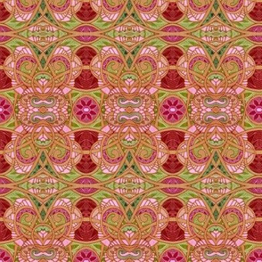 Faded Pink and Green Abstract Weave