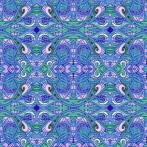 Blue is For Baby (an art deco abstract in blue and lavender and green)
