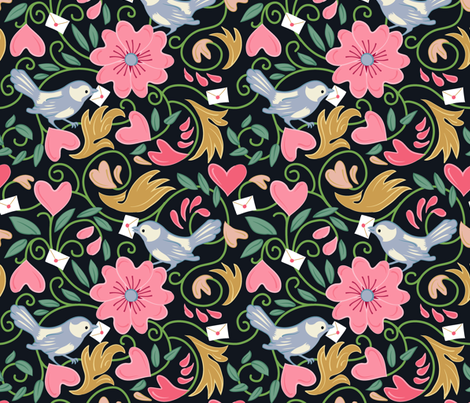 A Lovely Delivery - Blk Lrg fabric by dianne_annelli on Spoonflower - custom fabric