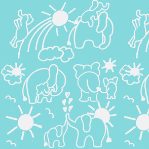 LARGE SCALE You Are My Sunshine Elephants in Aqua and White