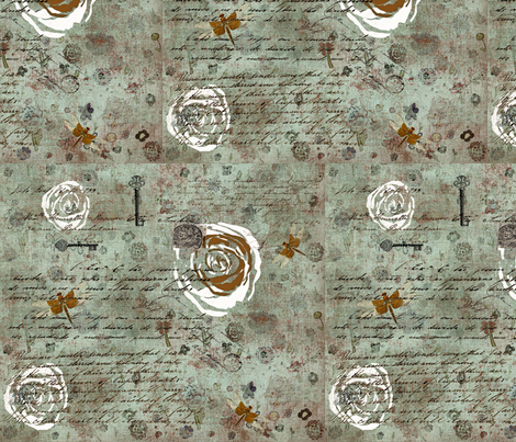 White Roses for il mio amore fabric by lizartelier on Spoonflower - custom fabric