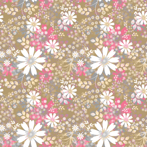 Cosmos Meadow in rose fabric by joanmclemore on Spoonflower - custom fabric