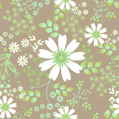 Cosmos Meadow Spring in green fabric by joanmclemore on Spoonflower - custom fabric