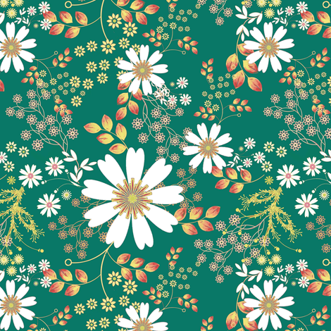 Cosmos Meadow on emerald fabric by joanmclemore on Spoonflower - custom fabric