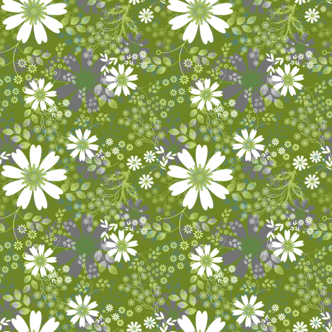 Cosmos Meadow on apple green fabric by joanmclemore on Spoonflower - custom fabric
