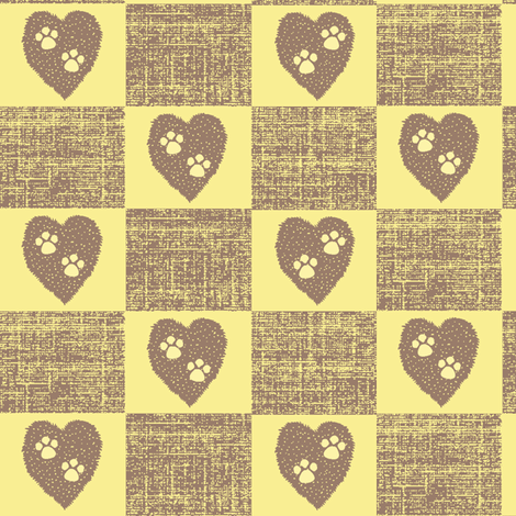Puppy Love -  two paws checkered, faded yellow/brown fabric by materialsgirl on Spoonflower - custom fabric