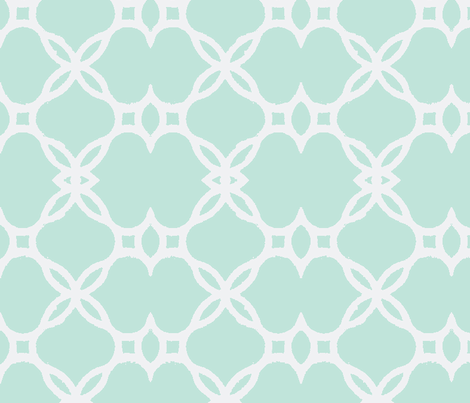 Ironwork Lattice Mint and White fabric by katie_schlomann on Spoonflower - custom fabric
