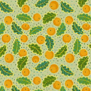 spring_leaves_oranges_green