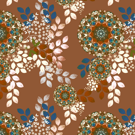 Meadow Bouquet in taupe fabric by joanmclemore on Spoonflower - custom fabric