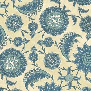Antique Arabic floral, in blues