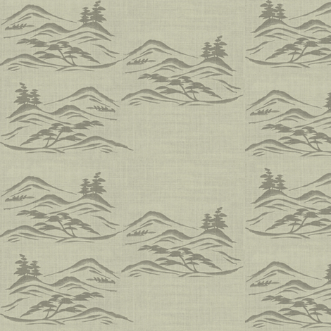 Asian inkscape - taupe  fabric by materialsgirl on Spoonflower - custom fabric