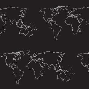 world map white on black