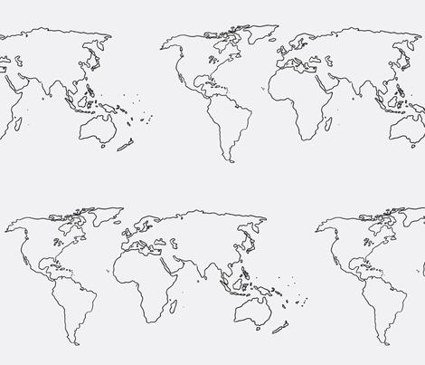 world map black on white fabric by blue_jacaranda on Spoonflower - custom fabric