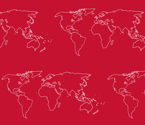world map white on red fabric by blue_jacaranda on Spoonflower - custom fabric