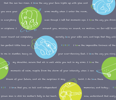 1996, A Love Letter - in chalkboard, extra-large fabric by hootenannit on Spoonflower - custom fabric