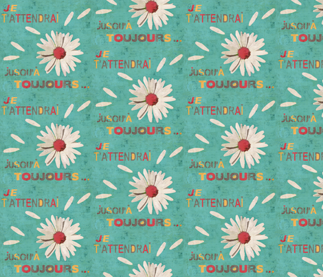 I will wait for you until always ... fabric by lucybaribeau on Spoonflower - custom fabric