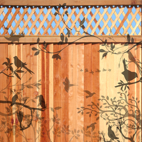 bird shadows on a fence fabric by krs_expressions on Spoonflower - custom fabric