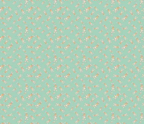 My_French_Rabbit_Green fabric by evelynrosedesigns on Spoonflower - custom fabric