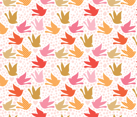 love letters by rozo / birds fabric by rozo on Spoonflower - custom fabric