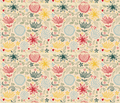 cute doodle flowers fabric by anastasiia-ku on Spoonflower - custom fabric