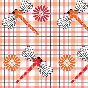 Large_Orange_Dragonflies___Flowers_Plaid