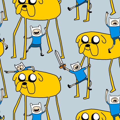Adventure Time!! (in blue) fabric by lusykoror on Spoonflower - custom fabric