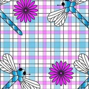 Large_Blue_Dragonflies___Flowers_Plaid