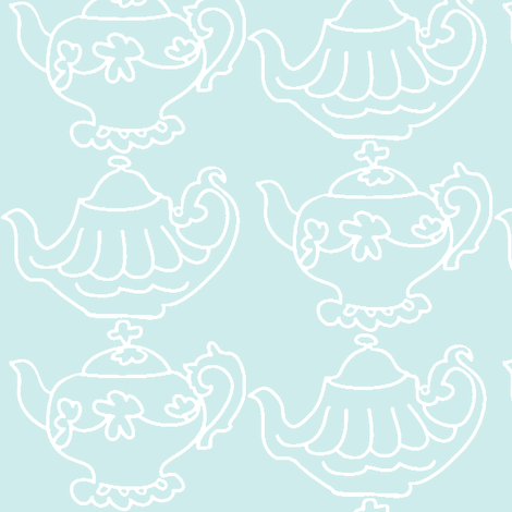Teapots Flip (Lt. Aqua & white) fabric by pattyryboltdesigns on Spoonflower - custom fabric