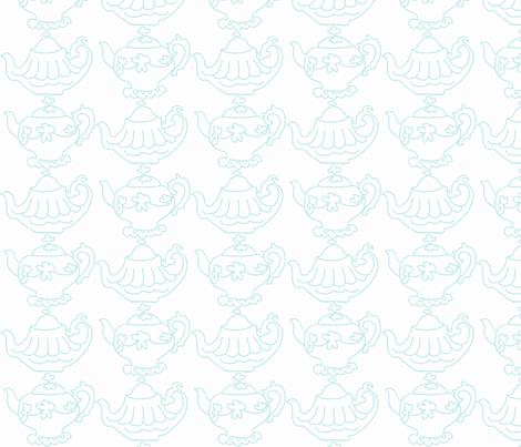 Teapots (lt Aqua & white) fabric by pattyryboltdesigns on Spoonflower - custom fabric