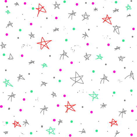 Stars and Galaxies, Stars and Dots, Grey Red Green Pink fabric by bohobear on Spoonflower - custom fabric