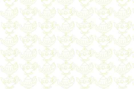 Teapots (Lt. Lime & white) fabric by pattyryboltdesigns on Spoonflower - custom fabric