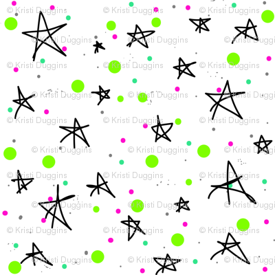 Cosmic Stars and Galaxies {Green White Pink Black Teal}