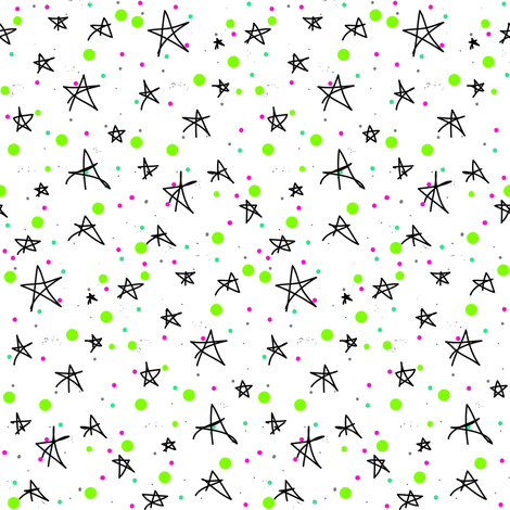 Cosmic Stars and Galaxies {Green White Pink Black Teal} fabric by bohobear on Spoonflower - custom fabric