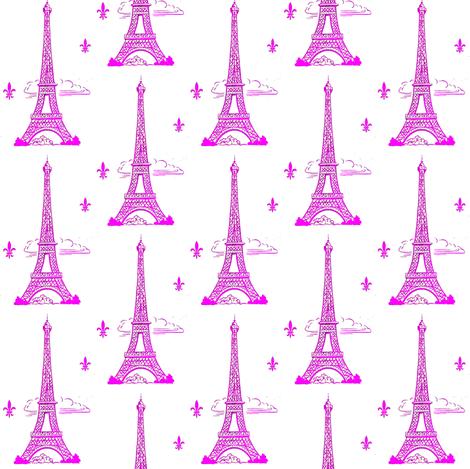 Eiffel Tower Hot Pink fabric by parisbebe on Spoonflower - custom fabric