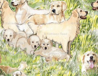 Golden Retrievers In The Grass fabric
