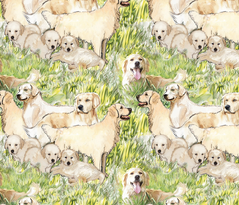 Golden Retrievers In The Grass fabric fabric by dogdaze_ on Spoonflower - custom fabric