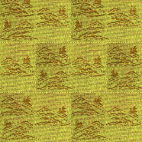 Asian inkscape - lime, brown fabric by materialsgirl on Spoonflower - custom fabric