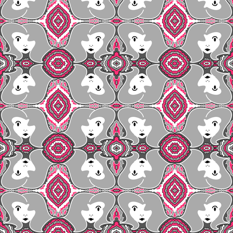 Retro Face - Gray and Pink fabric by telden on Spoonflower - custom fabric