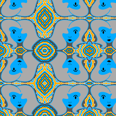 Retro Face - Blue Gray fabric by telden on Spoonflower - custom fabric