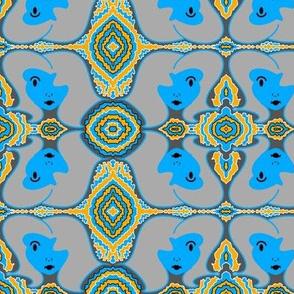 Retro Face - Blue Gray