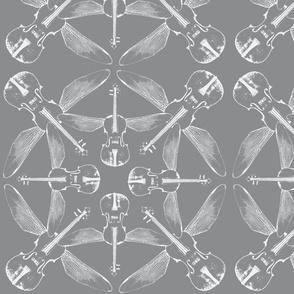 violin quartet white on grey