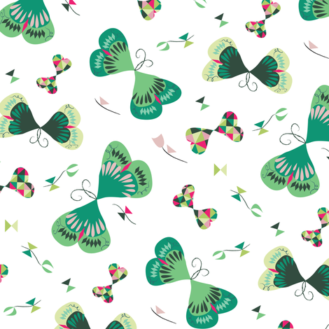 Emerald Butterflies fabric by licoricelove on Spoonflower - custom fabric