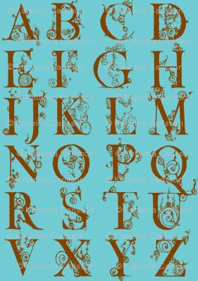 alphabet-brown on blue
